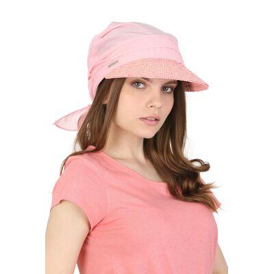Козырёк из соломы розовый