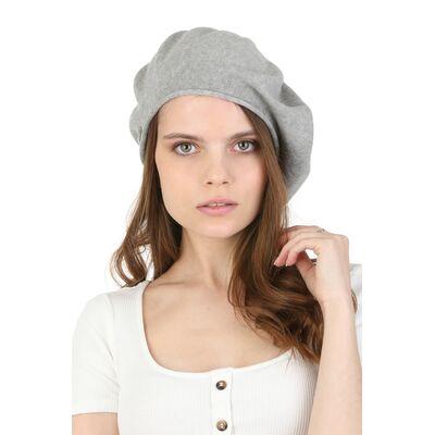 Берет женский летний серый из хлопка