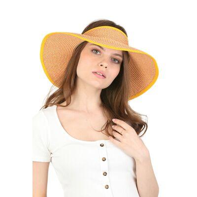 Шляпа без тульи с большими полями жёлтая