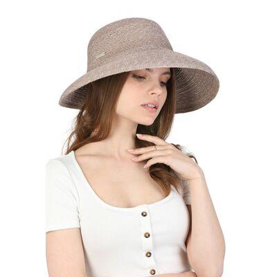 Шляпа серая соломенная с полями вниз