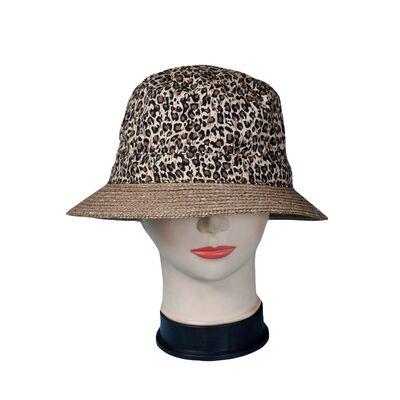 Шляпа леопардовая с соломенными полями