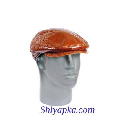 Мужская кепка из натуральной кожи терракотовая