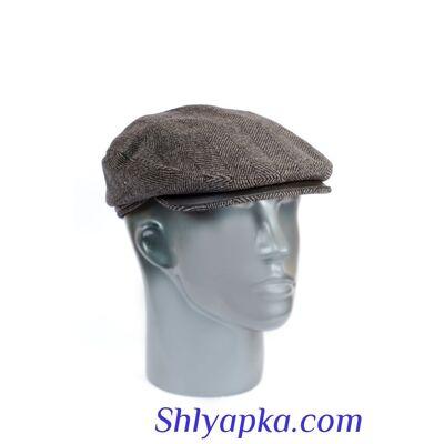 Кепка мужская из шерсти с отделкой из кожи