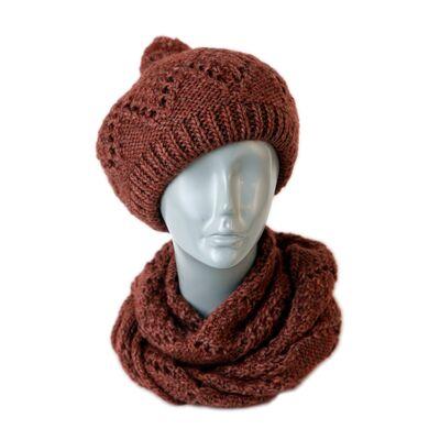 Компект вязаный берет+шарф-снуд