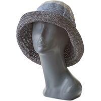 Шляпа летняя мягкая с украшением серая с голубымизображение
