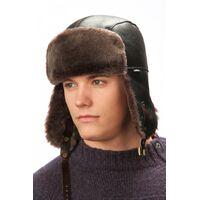 Мужская шапка-ушанка коричневаяизображение