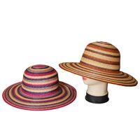 Шляпа соломенная в полоску с прямыми полямиизображение