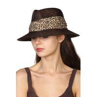 Шляпа в мужском стиле с леопардовой лентойизображение