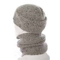 Комплект трикотажный шапка+баф светло серыйфото
