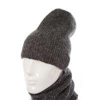 Комплект трикотажный шапка+баф темно-серыйизображение
