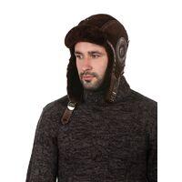 Шапка авиатор зимняя коричневаяизображение