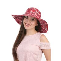 Шляпа соломенная с тканевыми вставками краснаяфото