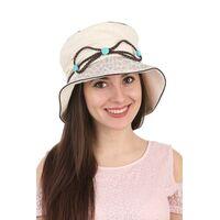 Шляпа тканевая с украшением из кожаного шнуркаизображение