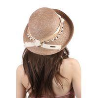 Соломенная шляпа с оригинальным украшением коричневаяфото
