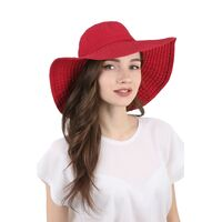 Шляпа летняя с большими полями краснаяфото