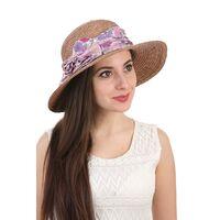 Шляпа соломенная с прямыми полями коричневаяфото