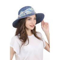 Шляпа соломенная с прямыми полями синяяизображение