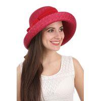 Шляпа женская соломенная декорированная лентой  краснаяфото