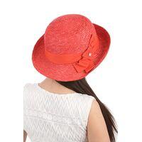 Шляпа из соломы женская асимметричная краснаяфото