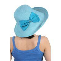 Шляпа мягкая с украшением в виде банта голубаяфото