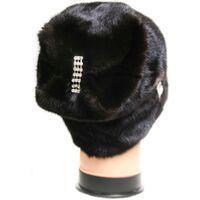 Женская черная шапка из норкифото