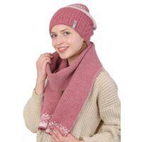 Комплект вязаный шапка и шарф розовыйфото