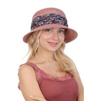 Шляпа соломенная с маленькими полями розоваяфото